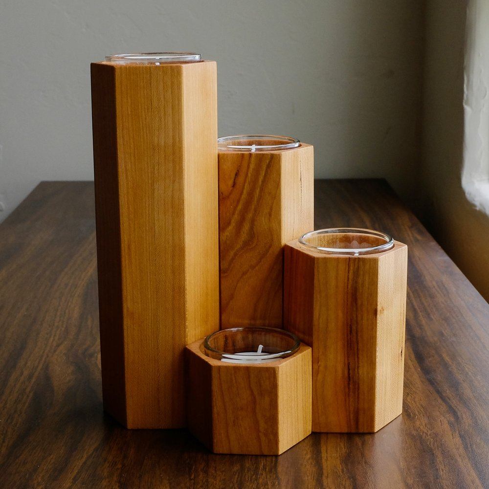 Candle Pillars - Honeycomb pillar sets for tea light displays, pleasant angles to catch shadows and cast light.