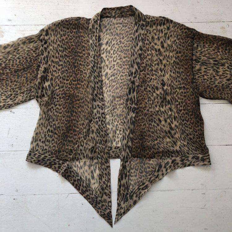 Leopard Print Silk Chiffon Kimono Size M One Scoop Store