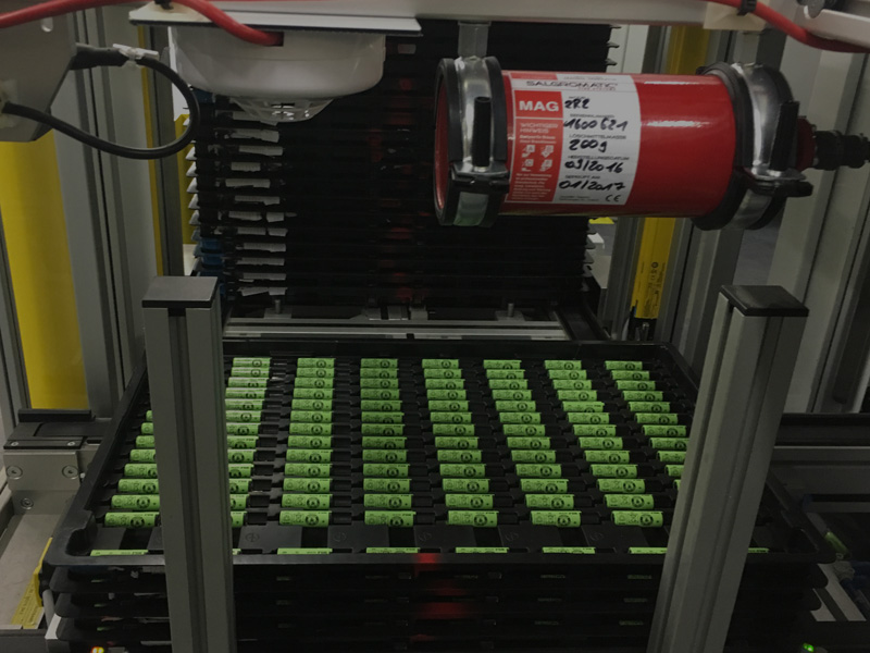 Lithium-Ionen Zellen - Löschsysteme für die Herstellung, die Lagerung und den Transport von Batterien.