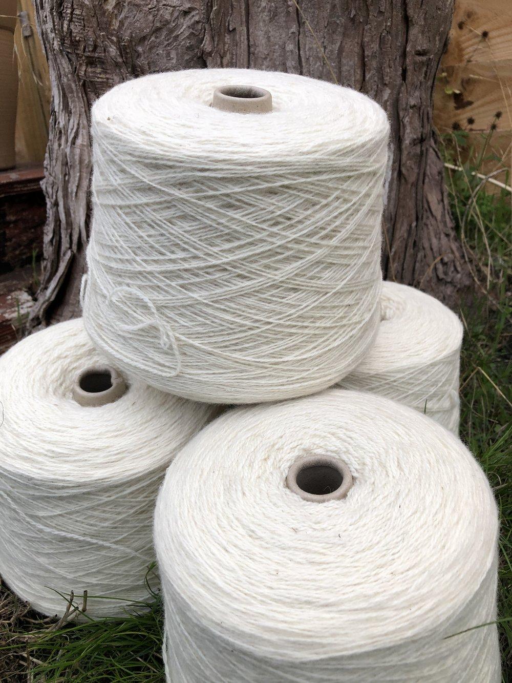 fernhill fibre white yarn cones