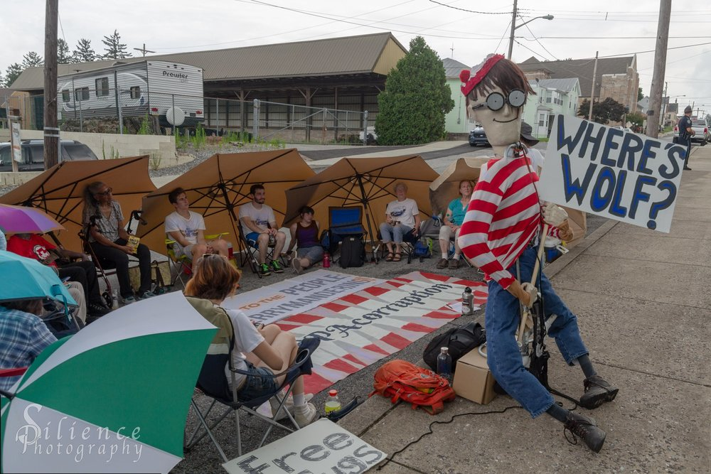 Protestors outside of the home of Governor Wolf on Thursday, July 5. Photo credit: Michael Hodgson