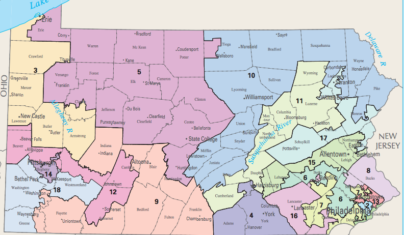 - Pennsylvania's current congressional map