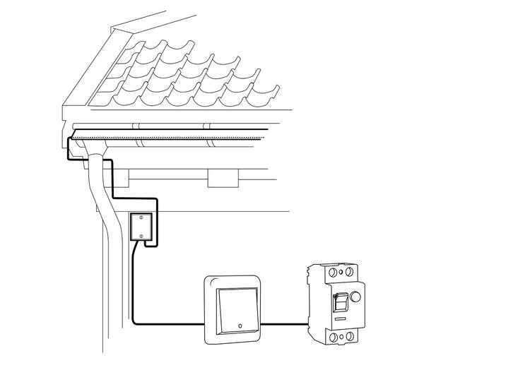 Installasjon - InstallasjonVarmebrett kan installeres på de fleste takrenner.Installeres påeksisterende takrenne.Takrennen bør være i god stand for at produktet skal fungere optimalt.Egen kurs med jordfeilbryter og termostat.