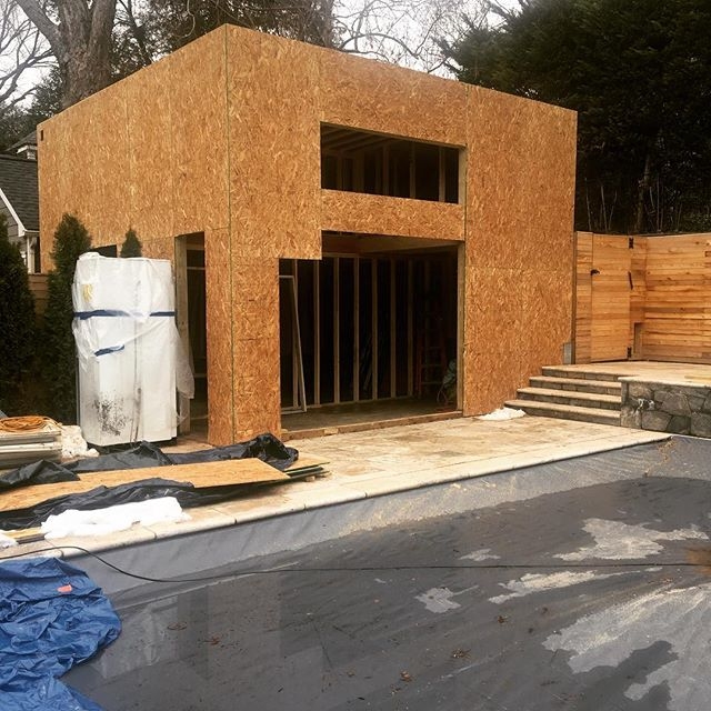 New pool house under construction- how many days until Summer?