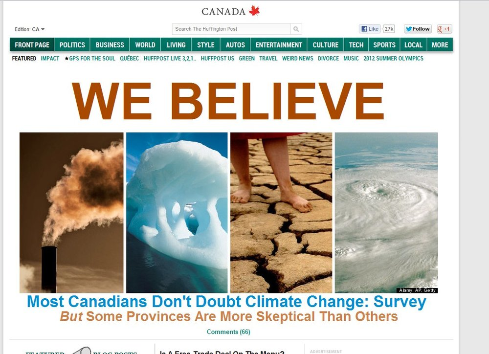 Front page of the Huffington Post for public opinion research on climate change.