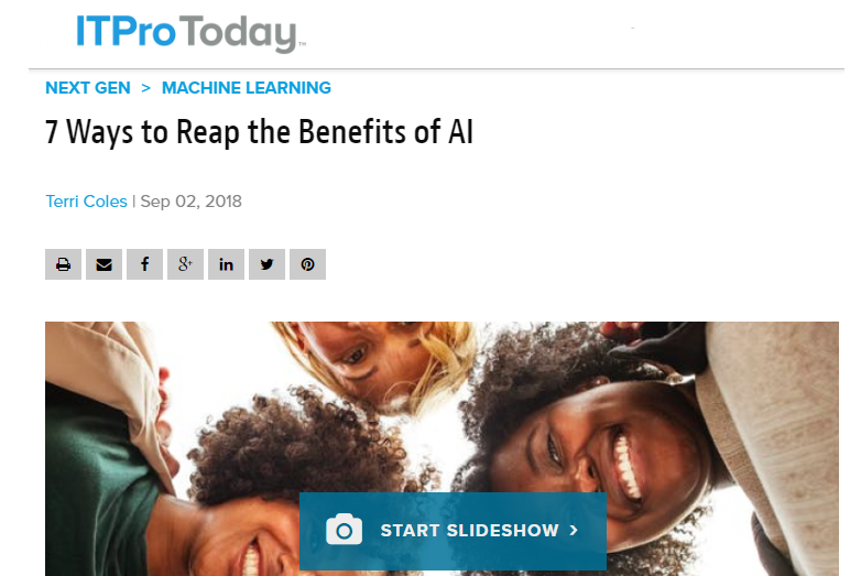 I speak with ITProToday about how to take advantage of AI in your business.