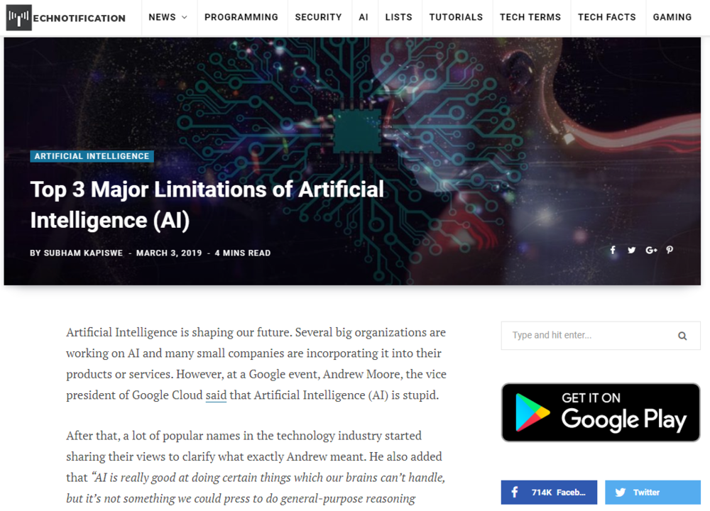 My comments on the limitations of Artificial Intelligence.
