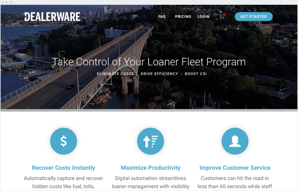 Dealerware - Using the existing structure of their Marketing site, I cleaned up the experience and look of this page to make it more clear and easier to use, while highlighting assets and learning materials for potential clients to download.