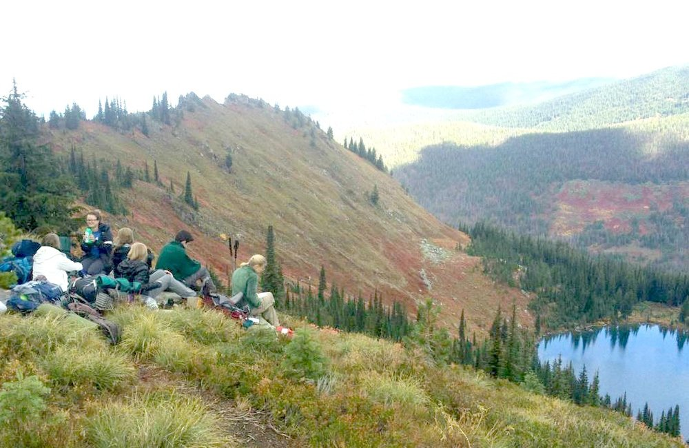 Volunteers overlooking Heart Lake Lolo Superior RD 2016.jpg