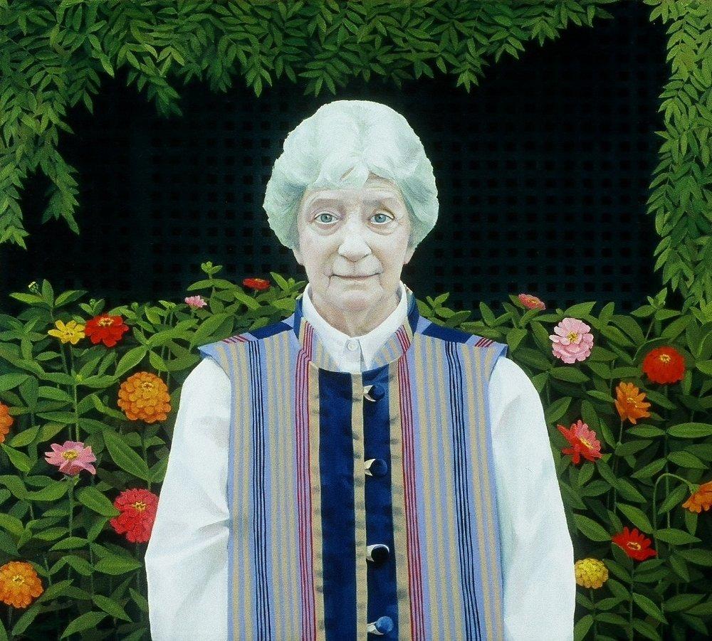 """Maria In Her Garden      18""""x20""""     2006     oil on canvas"""