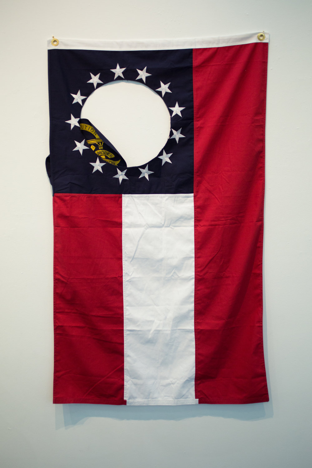 "#26 (Sic Semper Tyrannis)  Georgia State Flag 60""x36"" 2018  Photo Courtesy: Anna C. Robertson"