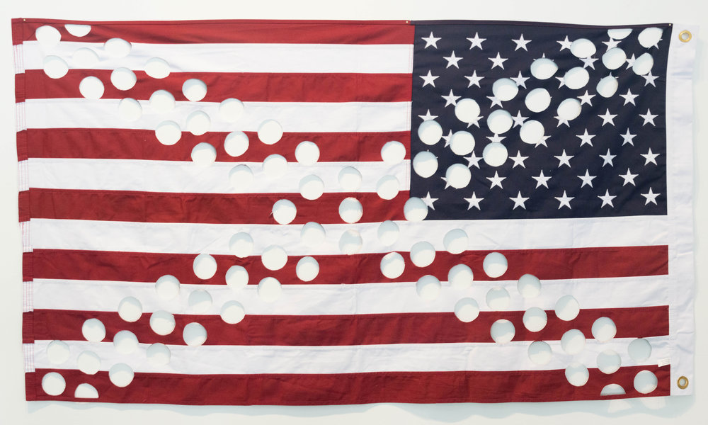 "#31 (Palpable Ignorance of the Divine Will)  United States flag 36""x60"" 2018  Photo Courtesy: Anna C. Robertson"