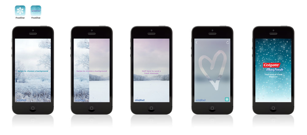 Breathe on phone to frost the screen. Send the freshest of messages to your friends.