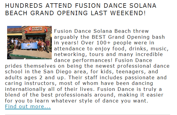THANKS YOU SOLANA BEACH FOR THE ARTICLE !!!!!