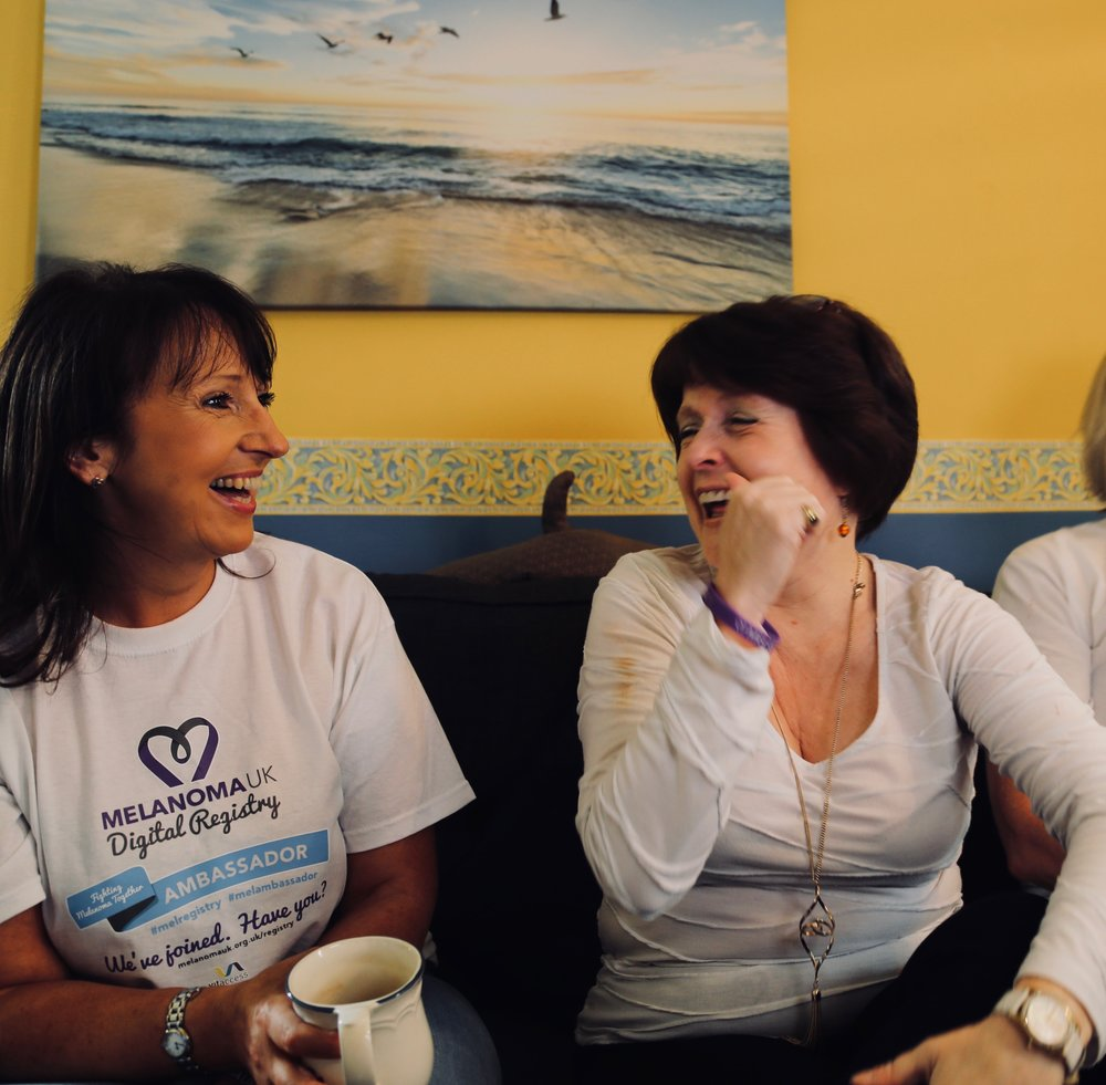 Gillian Nuttall and Diane Cannon from Melanoma UK surprise Tina Manning on filming day