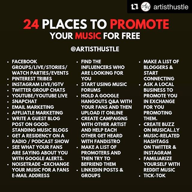 Great #musicpromo tip for #indiemusicians, compliments of @artisthustle! Share with someone who would benefit! #musicpromotion #diymusicpr #prunplugged
