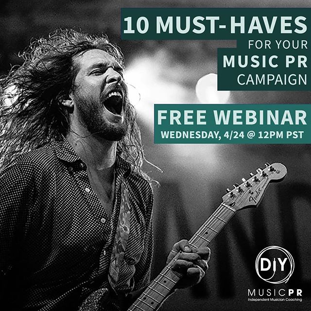 """Are you an #indiemusician & releasing new music in 2019? Join us this Wednesday (4/24) for a FREE music PR webinar! @kayteelong, owner & founder of DIY Music PR, will be answering all your burning promo questions from press outreach to @Spotify to what you need in your 'Musician's Toolkit.' """"Music PR 101 + 10 Must-Haves for Your 2019 New Music Release"""" will teach you the tools needed to help grow your fanbase and take your career to a whole new level. If you've ever felt like you have the potential, but need a plan, this webinar is for you.  We'll be giving away a free 30 minute one-on-one coaching session to one of our lucky attendees... AND we'll answer your questions during our live Q&A... AND we might even #repost you as a featured artist on the DIY Music PR Instagram.  Sign up ASAP - space if limited. Link to register is in our bio!👆 See you Wednesday!✌️ • • • #diymusician #diymusicpr #musicpr #musicpromotion #musicpromo #indiemusicians #independentmusician #musicmarketing #musicmarketingtips #musiciansofinstagram #musiciansofig #musicianslife #musicianlifestyle #lifeofamusician #bandpractice #indieband #bandpromo #bandpromotion #musicpromotips #musicpromotions #bandsofinstagram #bandmarketing #rockbands #musicmedia #bandlife"""