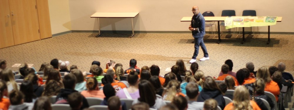 Ty Allan Jackson presenting to 300 elementary students at Northern Kentucky University