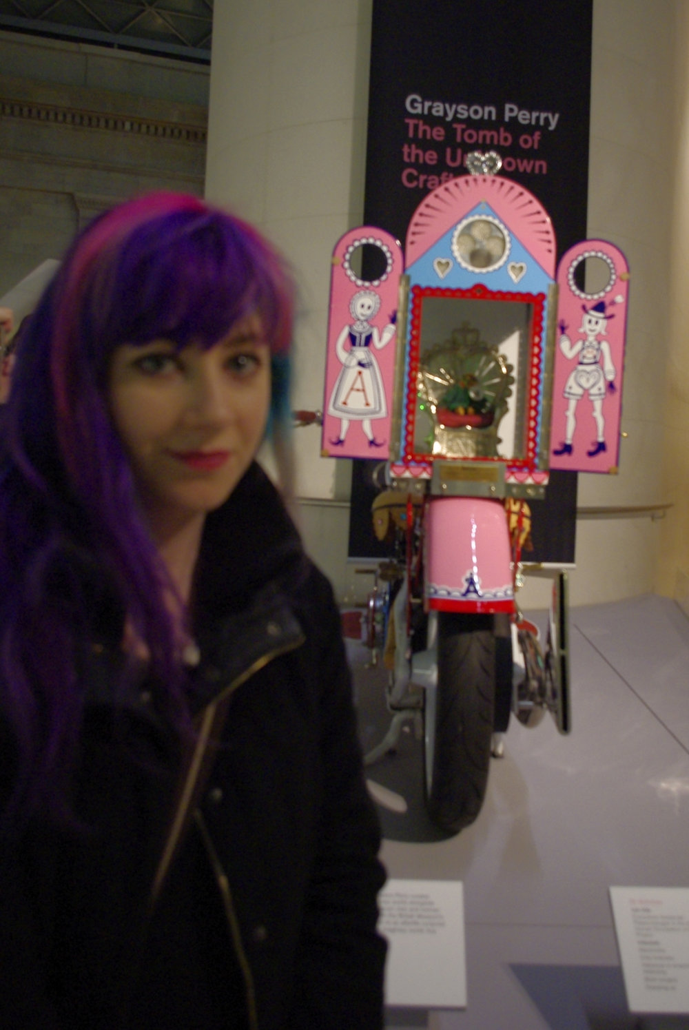 Me with Alan Measles the Teddybear in his motorbike shrine, outside Perrys show at the British Museum in 2011, looking worn out from London antics.