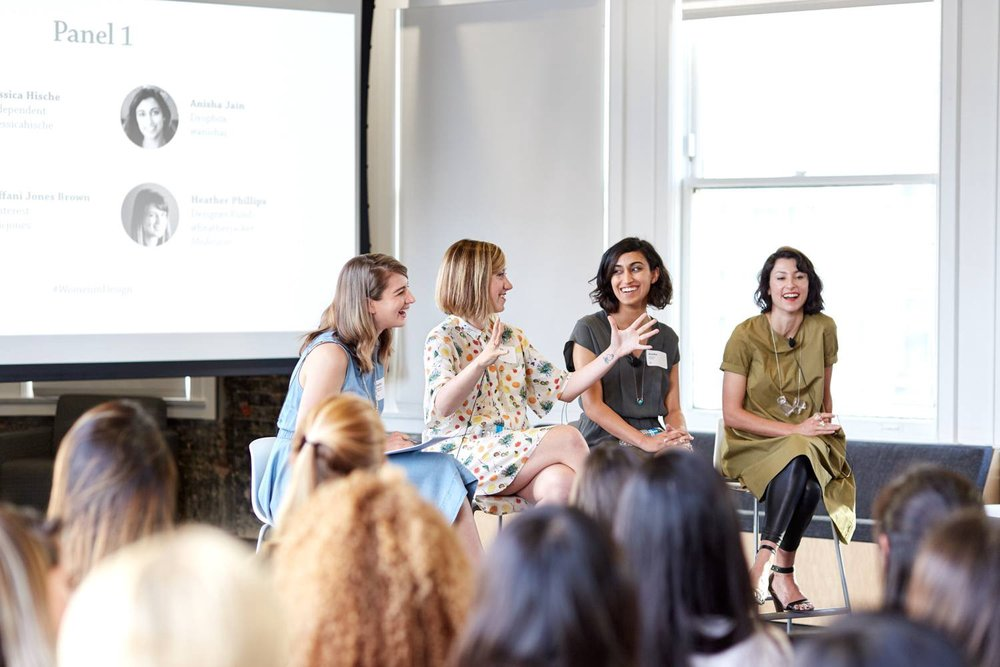 Abstract Director of Design Heather Phillips, with independent artist Jessica Hische, Dropbox Design Director Anisha Jain, and Dropbox Editorial Director Tiffani Jones Brown, via  Designer Fund .