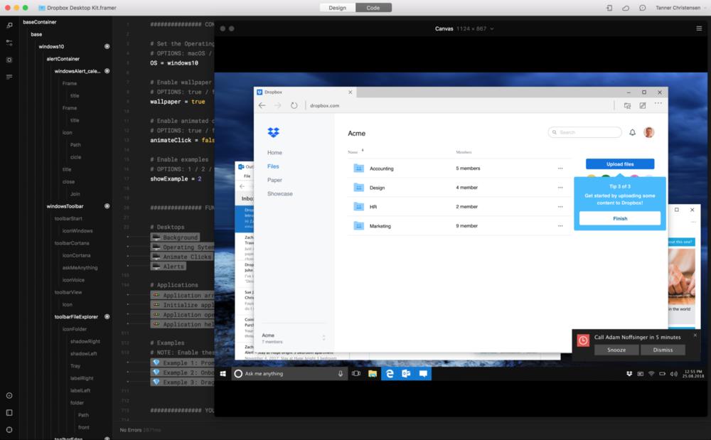 Dropbox's desktop prototyping kit built forFramer.