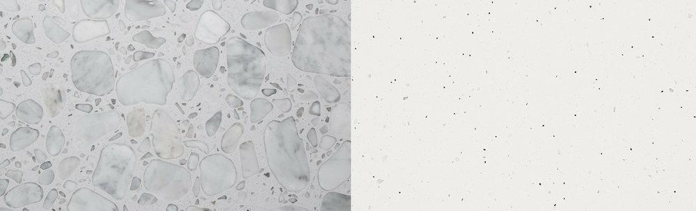 1)  Anne Sacks - White/White Field  2)  Caesarstone - Frozen Terra