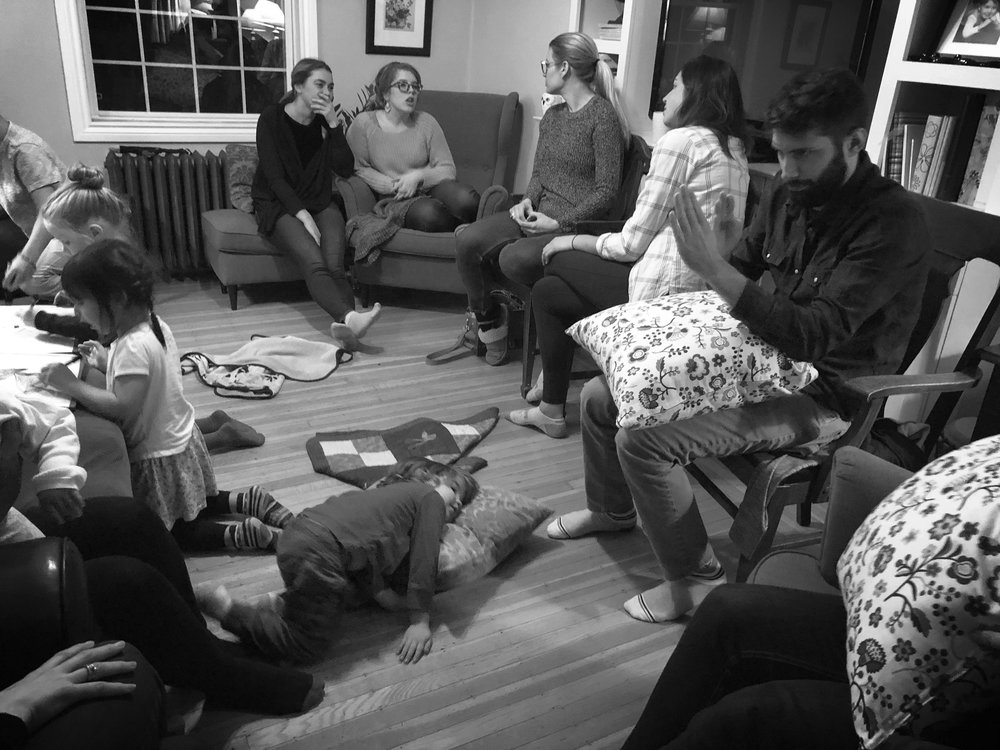 FELLOWSHIP - Each Faith Family gathers weekly (ish) so that true fellowship can happen. It's dinner and hanging out. It's stories and playing and prayer and movies and close friends and new faces. It's showing up, and practicing the way of Jesus together.