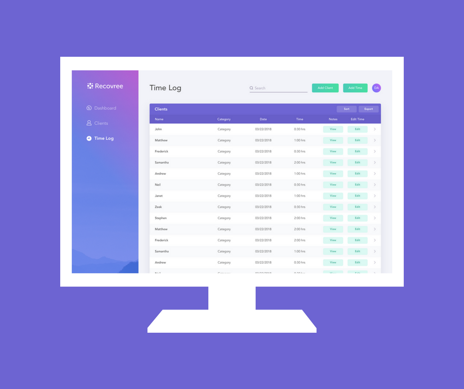 manage time for reimbursement - The Time Log allows peer specialists to easily manage, document and export all client encounters for reimbursement. With Recovree, specialists can spend less time on adminstrative tasks and more time with their clients.