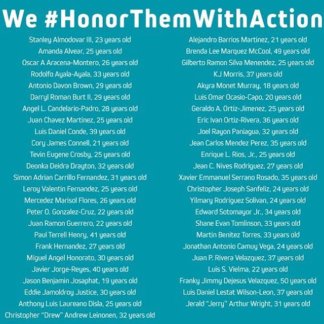 Today, I am remembering the 49 people we lost in the horrific Pulse nightclub shooting. I ask that we #honorthemwithaction - by fighting bigotry towards the LGBT community and demanding an end to gun violence. We need to vote for legislators who are committed to researching, passing, and implementing commonsense gun safety measures.  #commonsensegunreform #hugsnothate