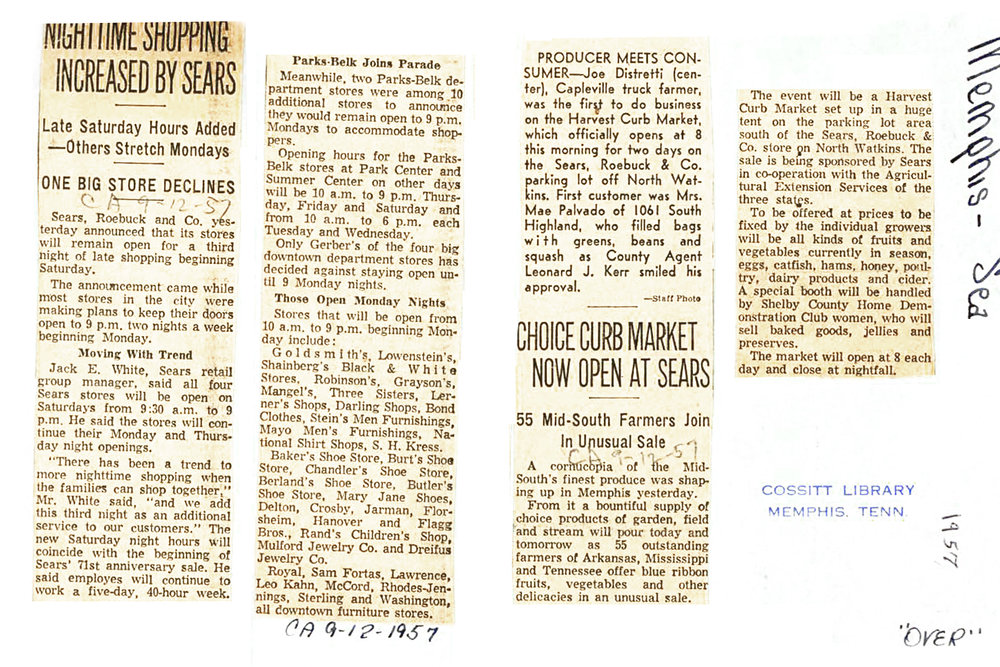 Articles from the Commercial Appeal on September 12th, 1957 about the Curb Market.