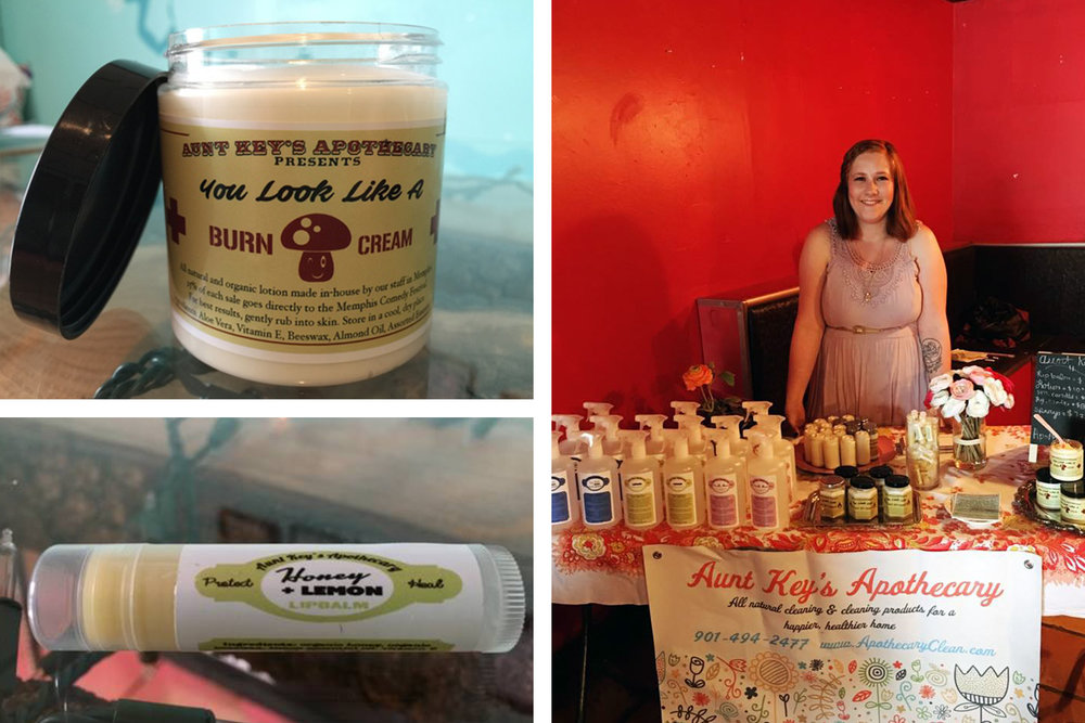 Left: Various products. Right: Partner, Mallory Elkins.