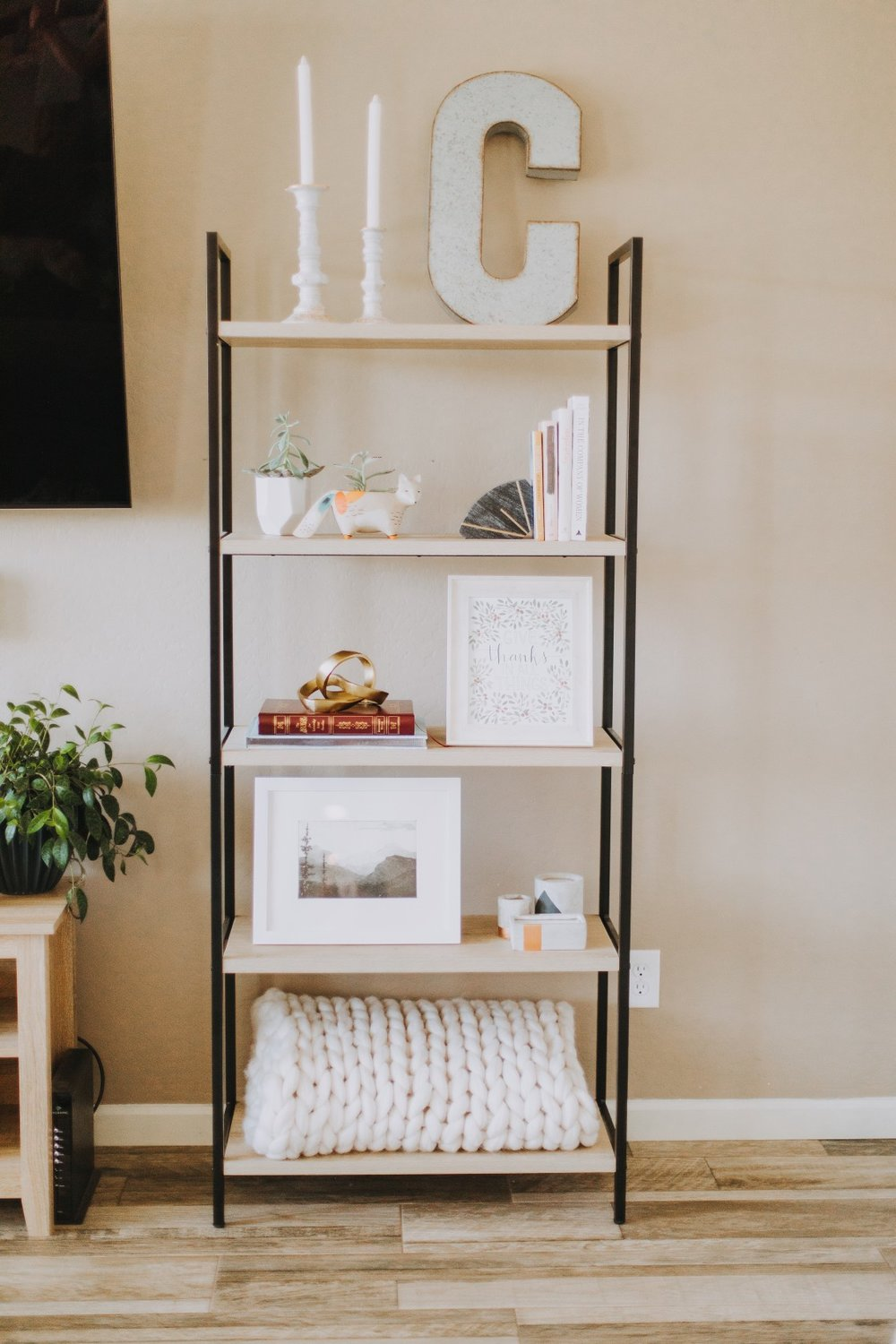 step 1— the bookshelf - Find your favorite bookshelf! I love the modern and open design of this one.