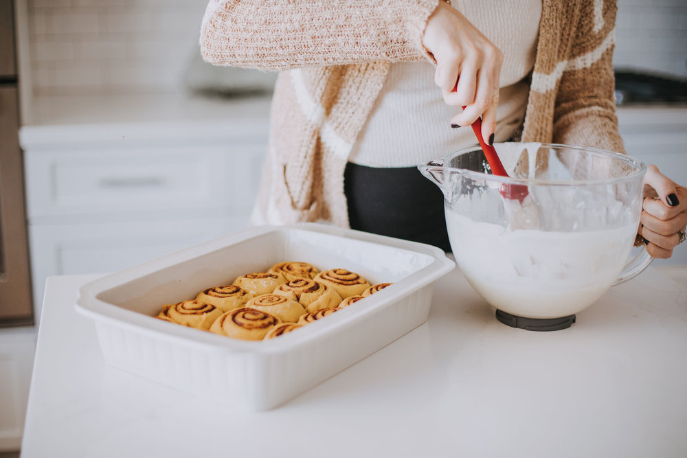 - Frosting½ bag of Powdered Sugar4 T softened Butter2 T Milk1 tsp Vanilla