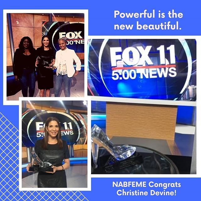 When you hit the 5pm News Desk for all the right reasons!! 💕 Team @nabfemelosangeles stopped by Fox 11 News to present Anchor Christine Devine with her #NABFEME Stiletto Award for TV Broadcast Excellence! #honor she's a #powerfulwoman and #beautiful #newsanchor #leader #thisisus #blackgirlexcellence #TAKE20, celebrate 20 years with us! NABFEME.org #nabfeme20 @belizeanprincessbree @devinenews