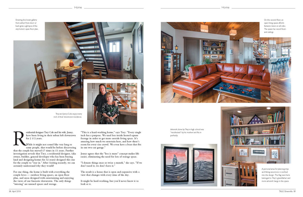 In the News - This City Home at Markley (West End Floorplan) was featured in the April issue of Greenville TALK.