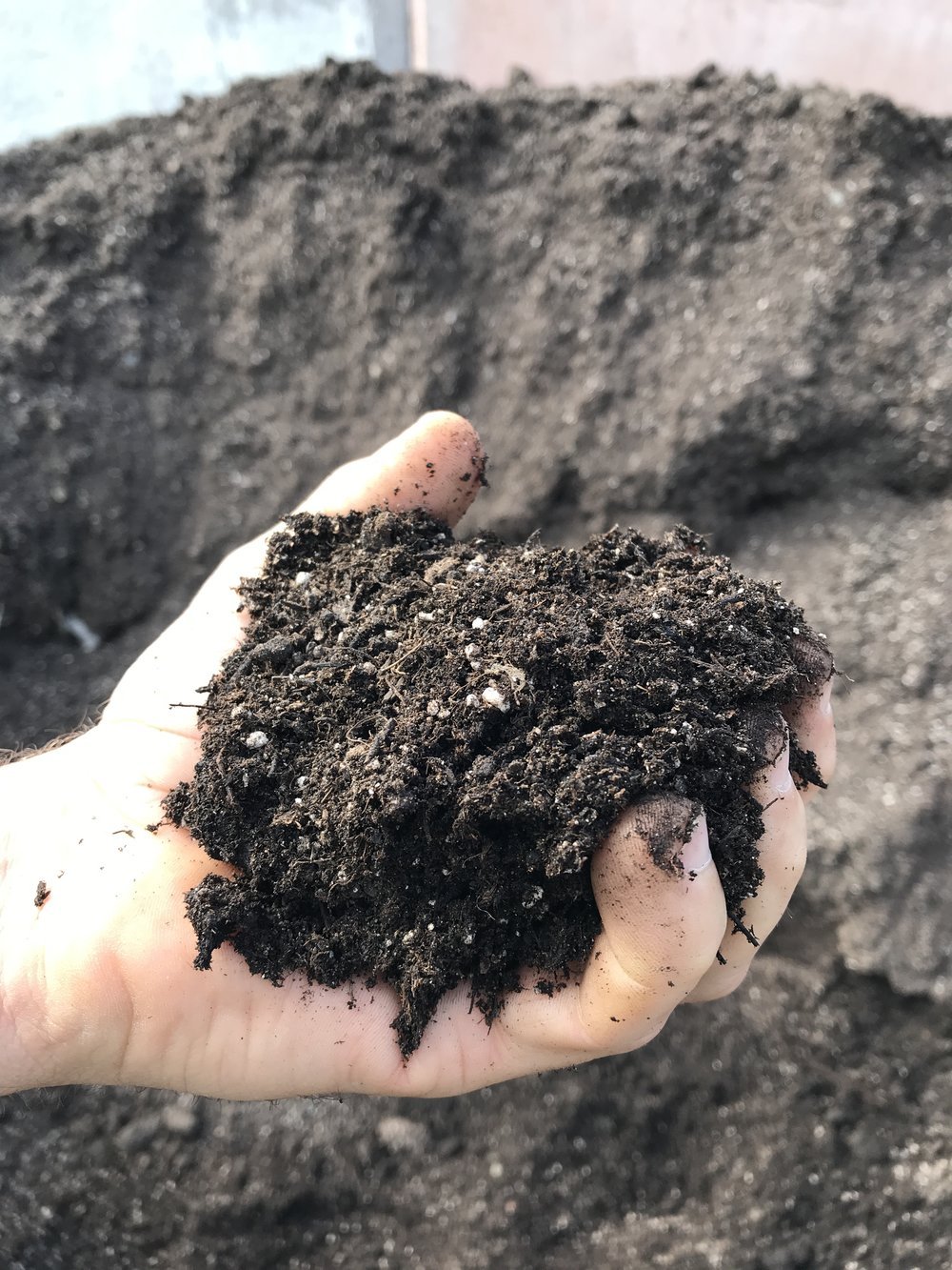 Premium Potting Mix  - This compost, peat & perlite mix is a great starter mix for seed germination, seedlings,& potted plants. It can also be added to raised beds and gardens as a high quality option.$65.00 per yard$37.00 per half yard$10.00 per pailContractor pricing available