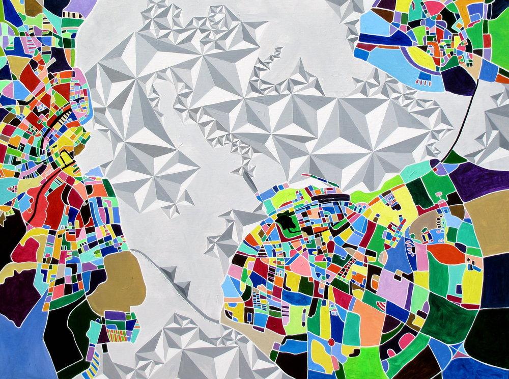 COPENHAGEN, MALMO and LUND, 200 x 150cm, Acrylic on linen
