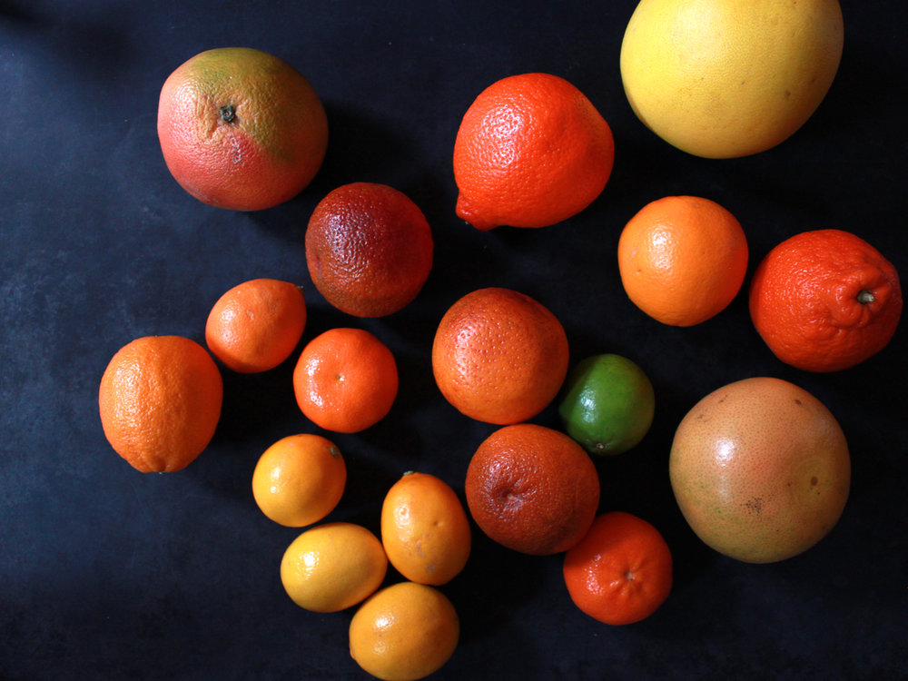 a huge range of citrus fruits to include in this delicious, spiced citrus salad