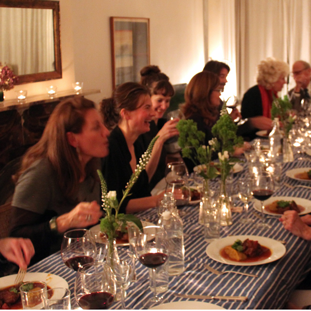 bring friends together for a private dinner; catering that feels like home