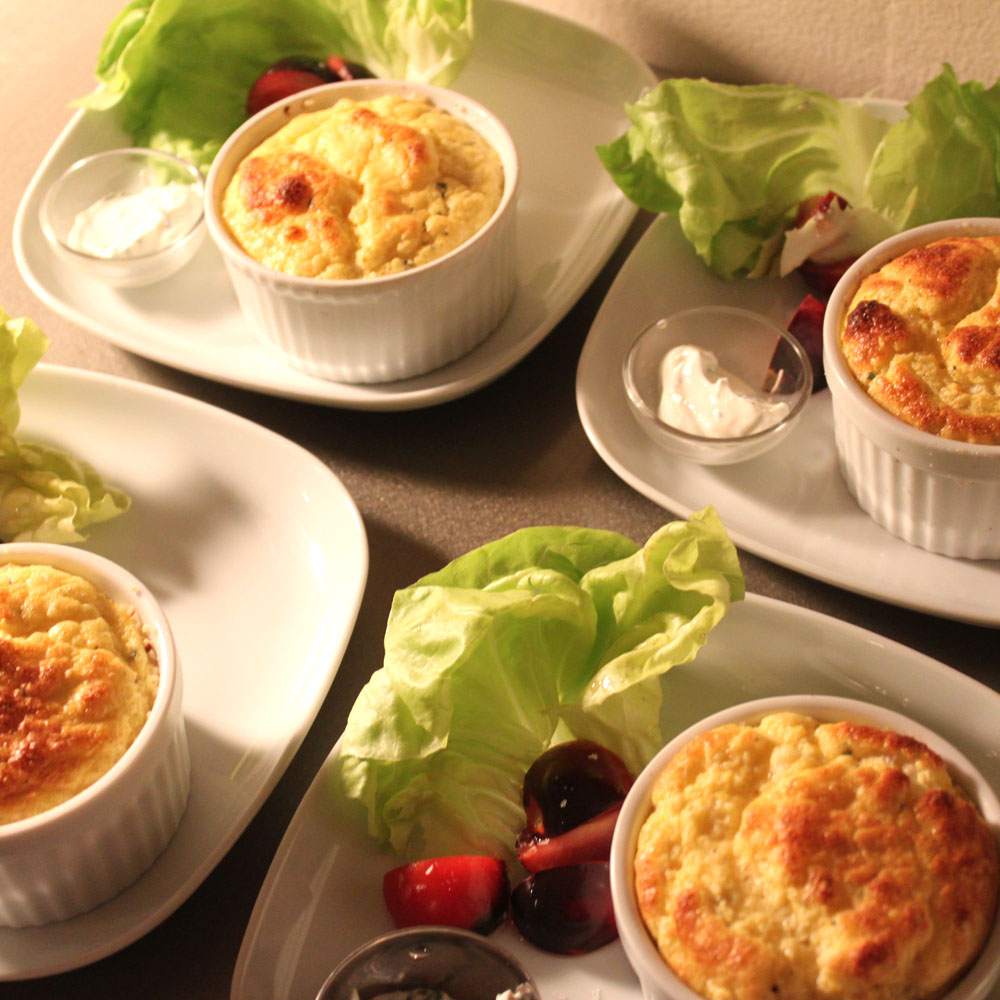 mini-cheese soufflés to kick off a catered dinner in your home