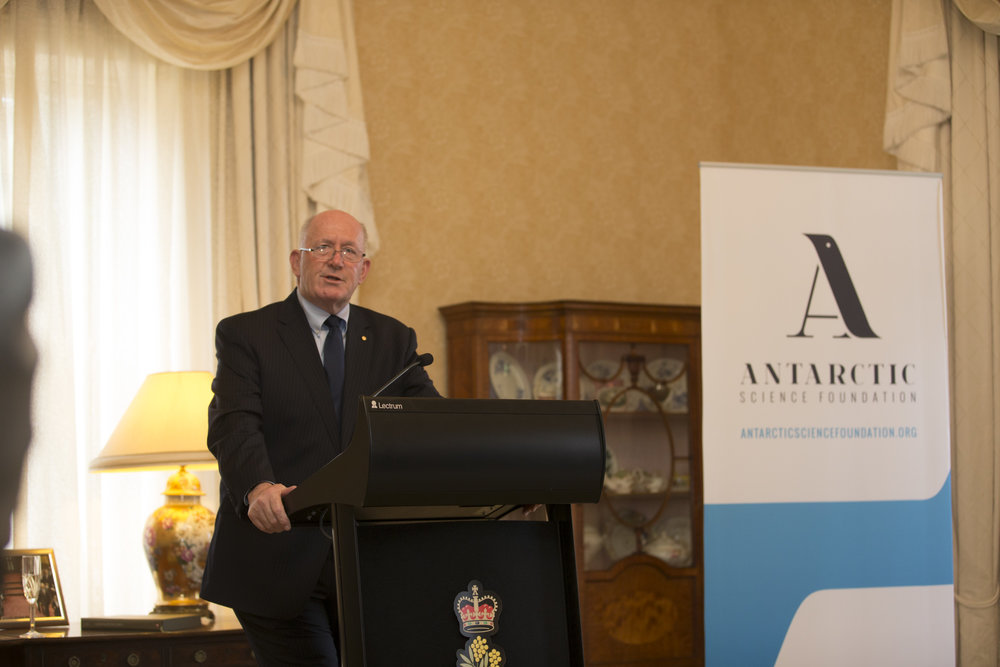 Our Patron His Excellency the Governor-General Sir Peter Cosgrove explaining the importance of Antarctic research in understanding our planet