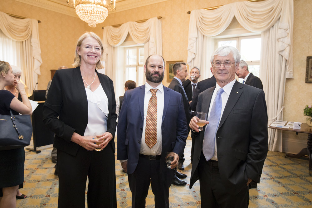 Executive Director Chrissie Trousselot, Dr Dirk Welsford, Program Leader Australian Antarctic Division and entrepreneur and Antarctic enthusiast Dick Smith