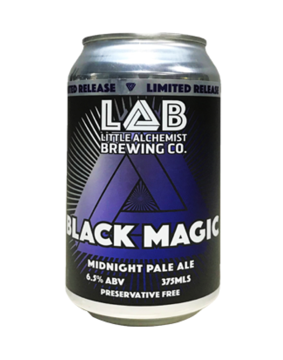 Little Alchemist Brewing Co. - Black Magic IPA  LAB's signature dark ales from the Cascadian IPA family is something they're really proud of. It's malt and hop profile give the illusion of a heavy stout but the taste of a light IPA. The rich colour comes from the midnight wheat, resulting in a beer with a deep rich colour without the astringent and bitter taste that black malts can contribute. This will leave you wanting to put back another one.