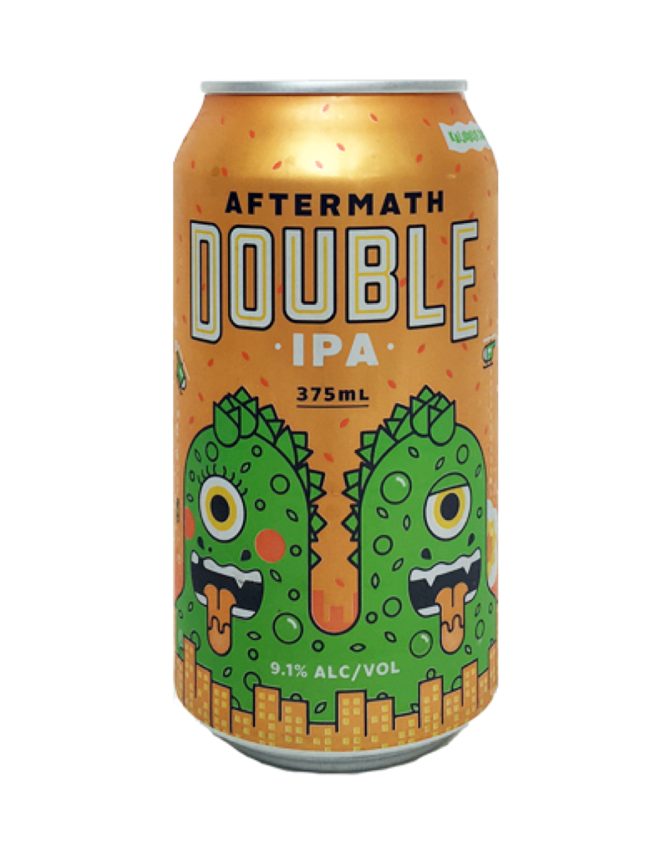 Kaiju Beer - Aftermath Double IPA  A ludicrously hopped, American style double IPA with enough malt backbone to smooth out the assertive bitterness.