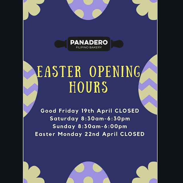 Heya!! 🤗😬We are closed on Good Friday and Easter Monday!!!! So don't forget to stock up on all your favourite goodies from us! 🥖🍩🍰💜 . . . #easter #openinghours #panaderobakery #panaderobakerychch #christchurch #newzealand