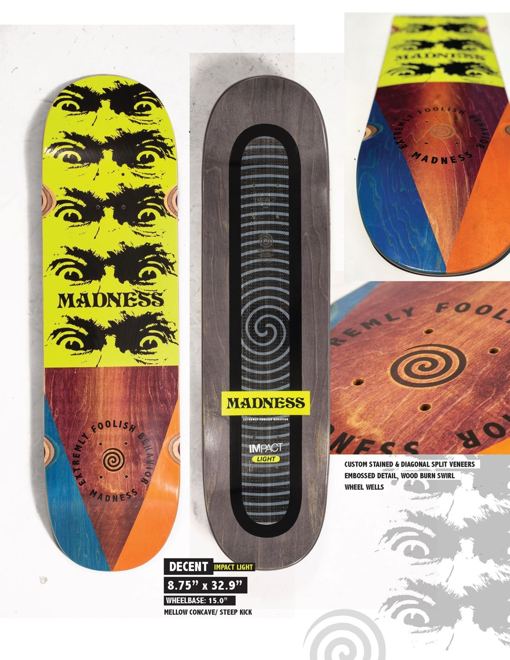MADNESS Decent 8.75 Impact Light Skateboard Deck