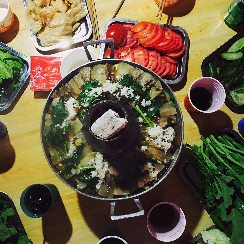Tibetan hot pot by a local family in Sichuan, China
