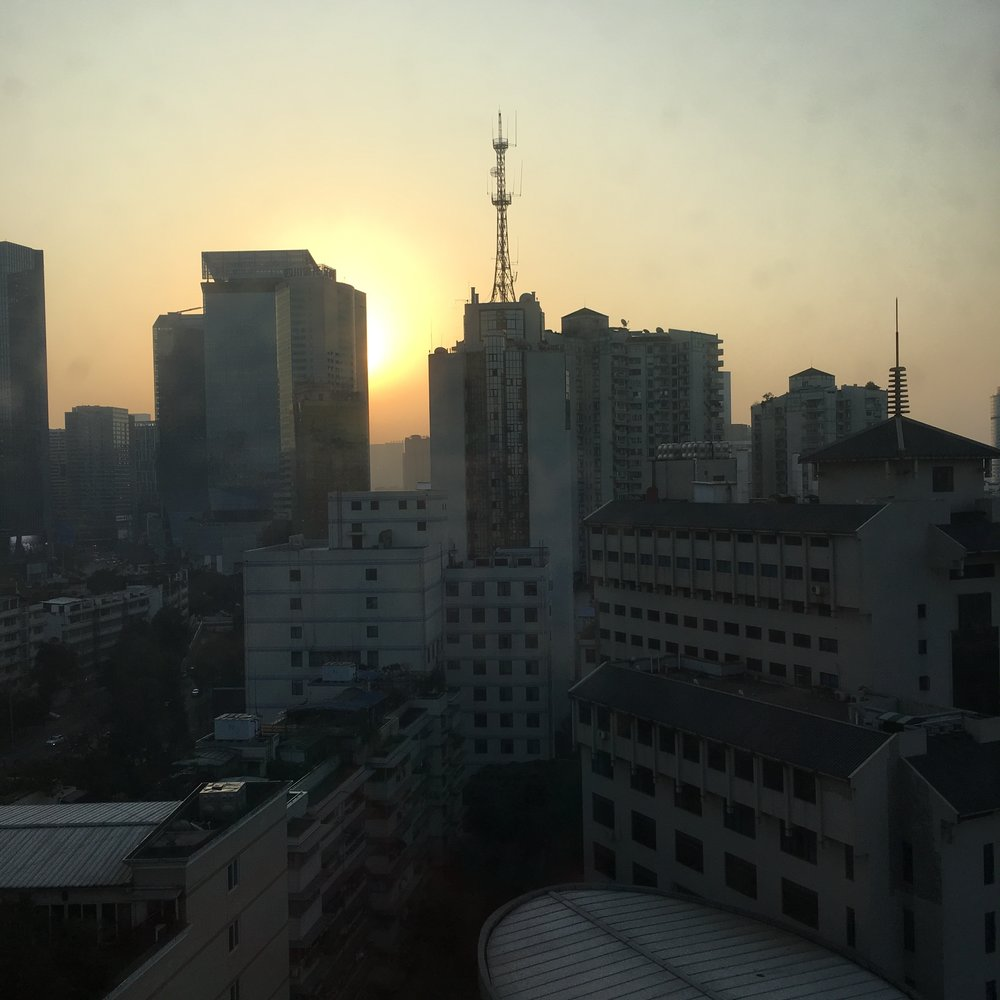 first sunrise, Chengdu, China