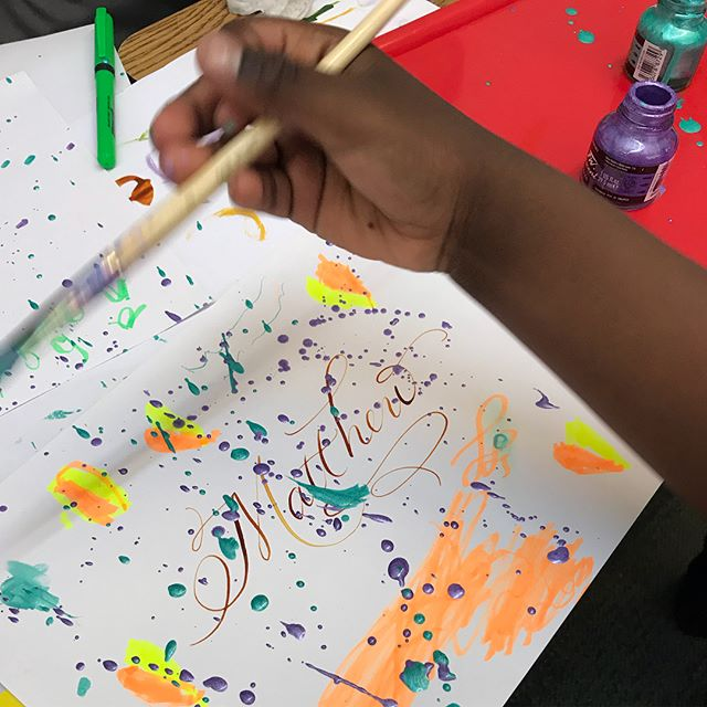 Looks like @lovejenncalligraphy may have some future apprentices! 🖋Some of the 1st grade classes are having parents visit to talk about or demonstrate their professions. The first presentation was a Mom from 1D: a Calligrapher. She taught the children how to hold their pens & markers & lead a fun splatter ink activity using metallic ink. She also showed samples of her professionally printed materials. They were so focused & absolutely loved the lesson! And took it very seriously, as you can see by their expressions. We're looking forward to seeing what more parents do every day. As many of you know, we have so many talented, ambitious & interesting families in the ICS Community!