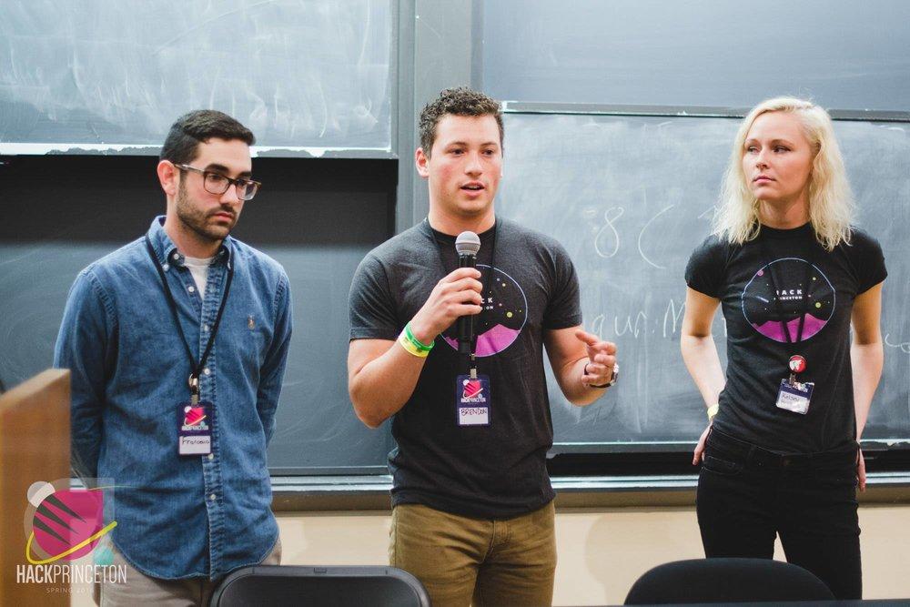 Presenting Moralit.ai @ Princeton University. Francesco, Brendon, and Kelsey (left to right).